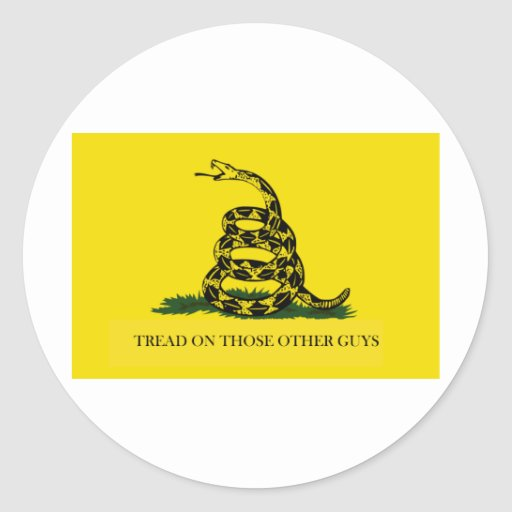 Tread on those other guys classic round sticker