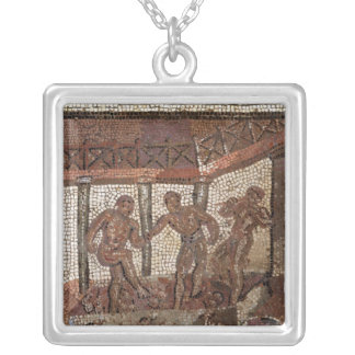 Treading grapes, from Saint-Roman-en-Gal Silver Plated Necklace