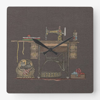 Treadle Sewing Machine & Kittens Square Wallclock