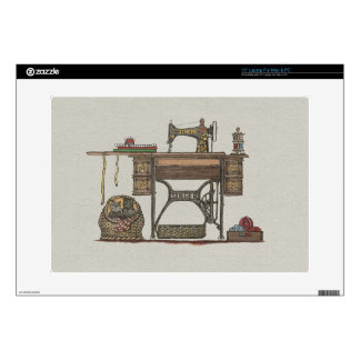 Treadle Sewing Machine & Kittens Laptop Decal