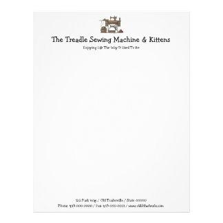 Treadle Sewing Machine & Kittens Letterhead