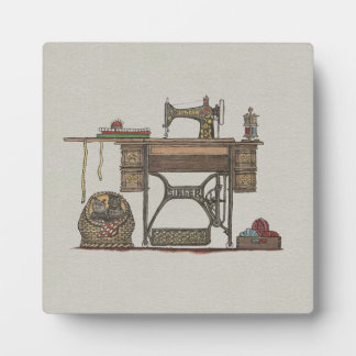 Treadle Sewing Machine & Kittens Plaque