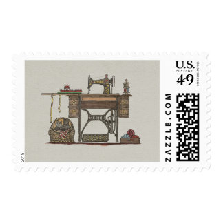 Treadle Sewing Machine & Kittens Postage Stamp