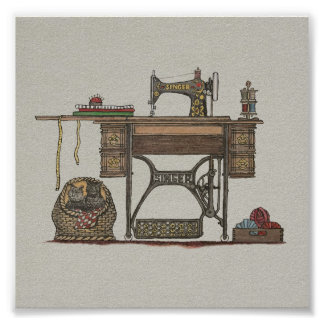 Treadle Sewing Machine & Kittens Posters