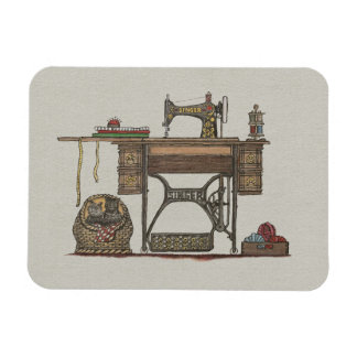 Treadle Sewing Machine & Kittens Rectangle Magnet