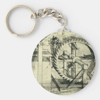 Treadmill Powered Crossbow by Leonardo da Vinci Basic Round Button Keychain