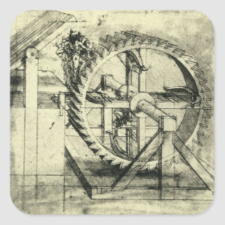 Treadmill Powered Crossbow by Leonardo da Vinci Square Sticker
