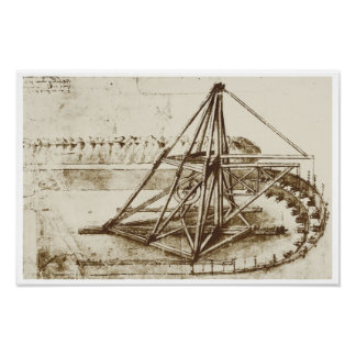 Treadmill Powered Digging Machine, Da Vinci Poster
