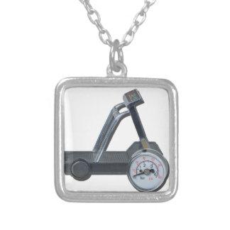 TreadmillWithPressureGauge062115 Silver Plated Necklace