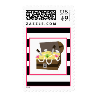 Treasure Chest Girl's Birthday Party Stamp
