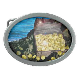Treasure Chest of Gold on the Rocks Belt Buckle