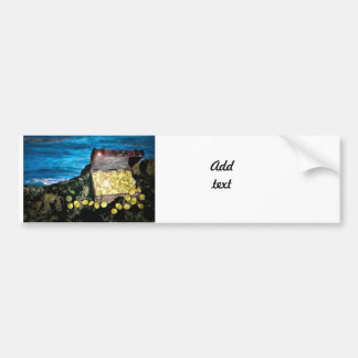Treasure Chest of Gold on the Rocks Car Bumper Sticker