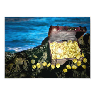 Treasure Chest of Gold on the Rocks Card