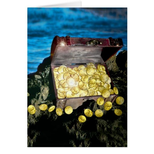 Treasure Chest of Gold on the Rocks Greeting Card