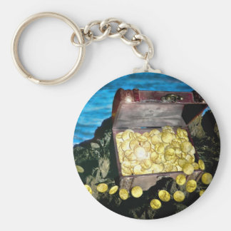 Treasure Chest of Gold on the Rocks Key Chain