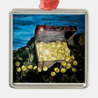 Treasure Chest of Gold on the Rocks Ornament