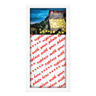 Treasure Chest of Gold on the Rocks Customized Photo Card