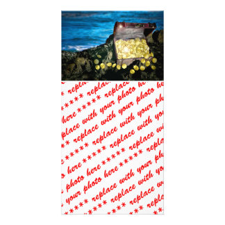 Treasure Chest of Gold on the Rocks Photo Card