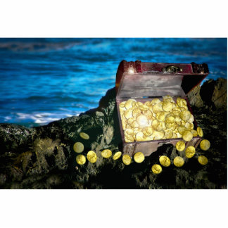 Treasure Chest of Gold on the Rocks Photo Cut Outs