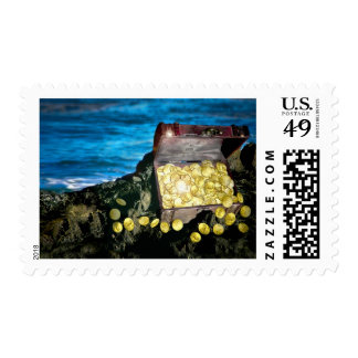 Treasure Chest of Gold on the Rocks Postage