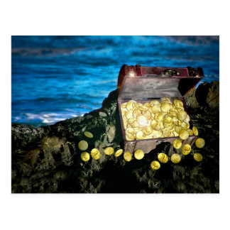 Treasure Chest of Gold on the Rocks Postcard