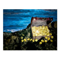 Treasure Chest of Gold on the Rocks Postcards