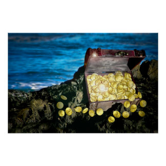Treasure Chest of Gold on the Rocks Print