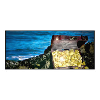 Treasure Chest of Gold on the Rocks Full Color Rack Card