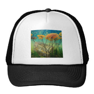 Treasure Chest Sunken Gold Under Water Lily Pads Mesh Hats