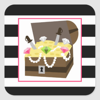 Treasure Chest With Pink Jewels Square Sticker