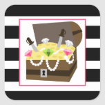Treasure Chest With Pink Jewels Square Stickers