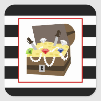 Treasure Chest With Red Blue & Green Jewels Stickers