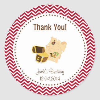 Treasure Hunt Birthday Thank You Sticker Red
