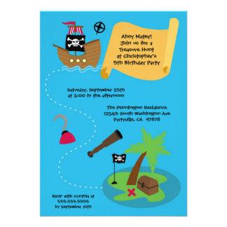Treasure hunt pirate birthday party invitation