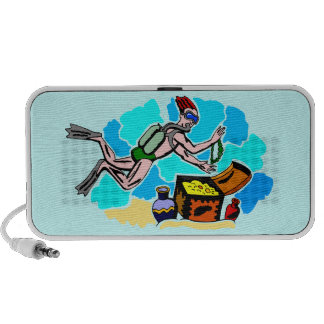 Treasure Hunter Diver Design Doodle Portable Speaker