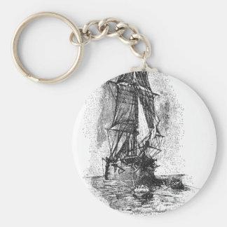 Treasure Island Pirate Ship Basic Round Button Keychain