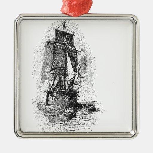 Treasure Island Pirate Ship Metal Ornament