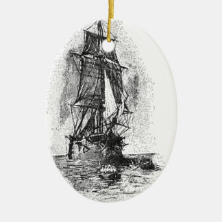 Treasure Island Pirate Ship Double-Sided Oval Ceramic Christmas Ornament