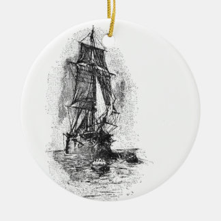 Treasure Island Pirate Ship Double-Sided Ceramic Round Christmas Ornament