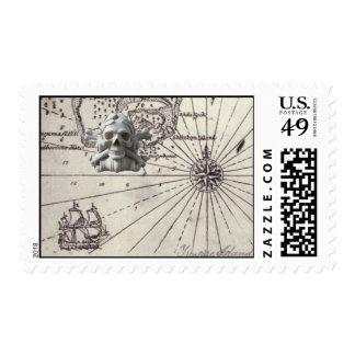 Treasure Island Pirate Skull Post Stamp