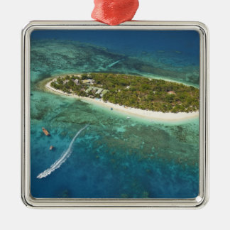 Treasure Island Resort and boat, Fiji Square Metal Christmas Ornament