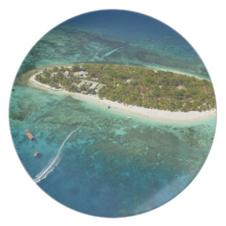 Treasure Island Resort and boat, Fiji Plate