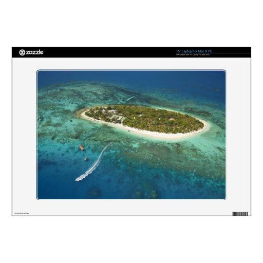 Treasure Island Resort and boat, Fiji Decal For Laptop