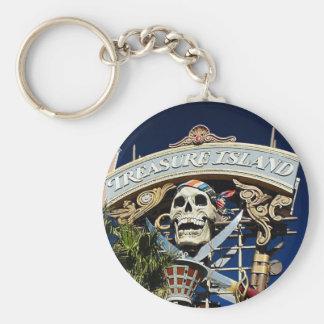 Treasure Island Sign Basic Round Button Keychain