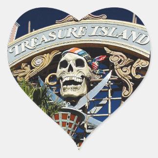Treasure Island Sign Heart Sticker
