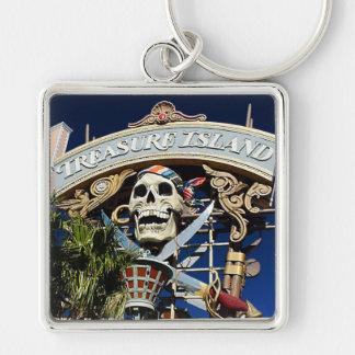 Treasure Island Sign Silver-Colored Square Keychain