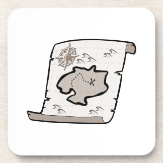 Treasure Map Beverage Coaster