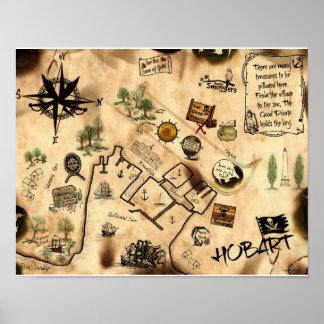 Treasure Map of Hobart Tasmania, Australia Poster