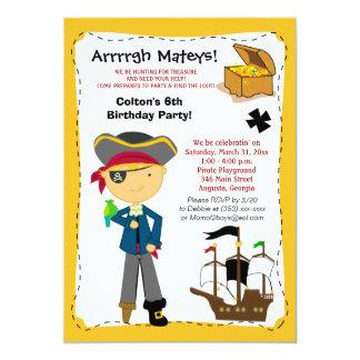 Treasure Map Pirate Ship Birthday Invitation