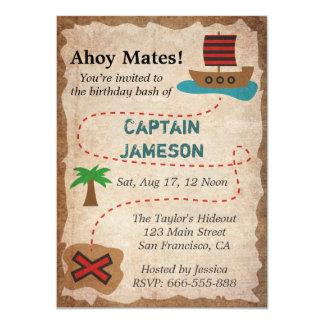 Treasure Map, Pirate Theme Birthday Party 4.5x6.25 Paper Invitation Card